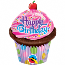 "Birthday Cupcake Foil Balloon (14"" Air-Fill) 1pc"